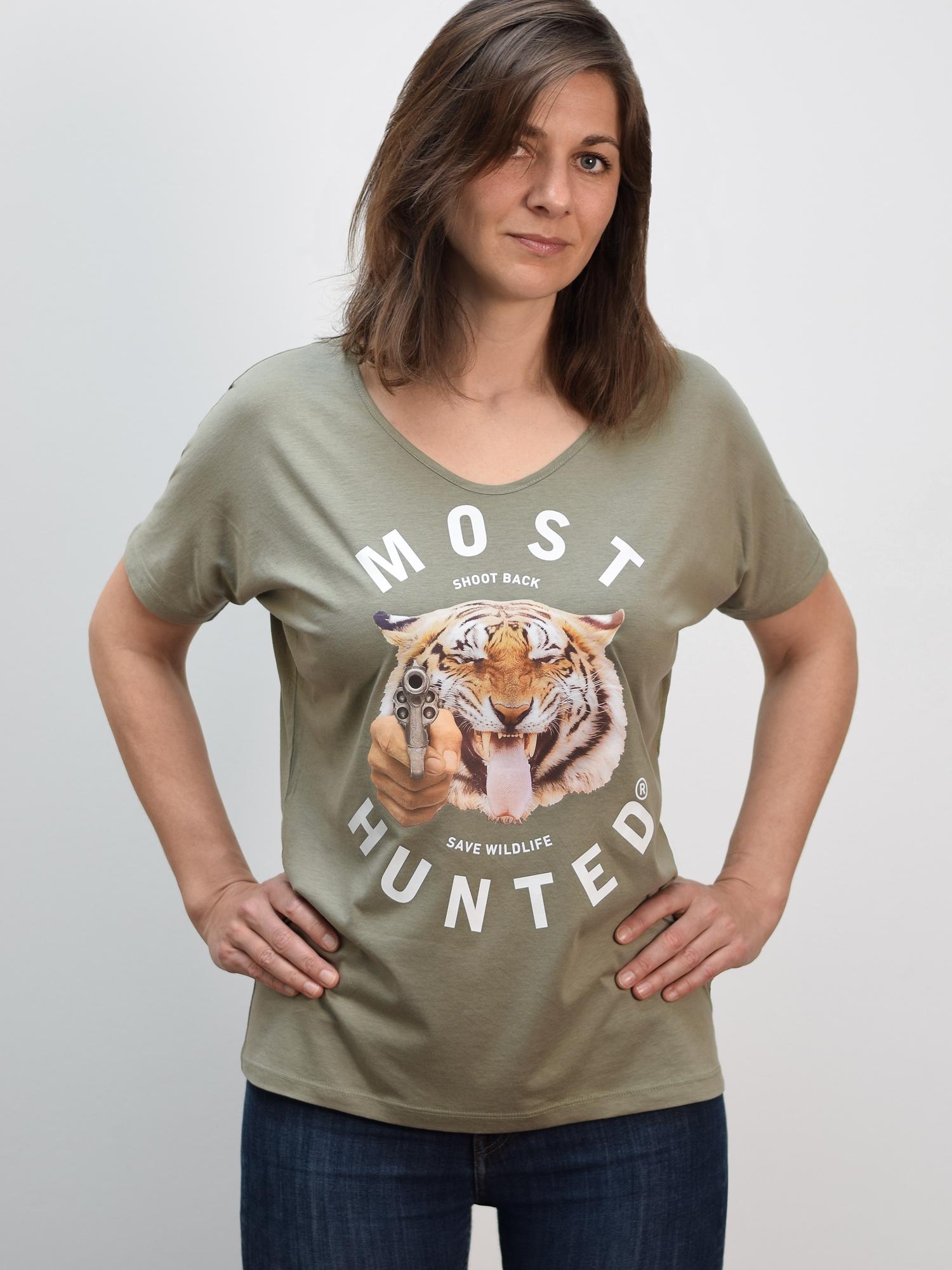 Real Tiger T Shirt Army Green Most Hunted