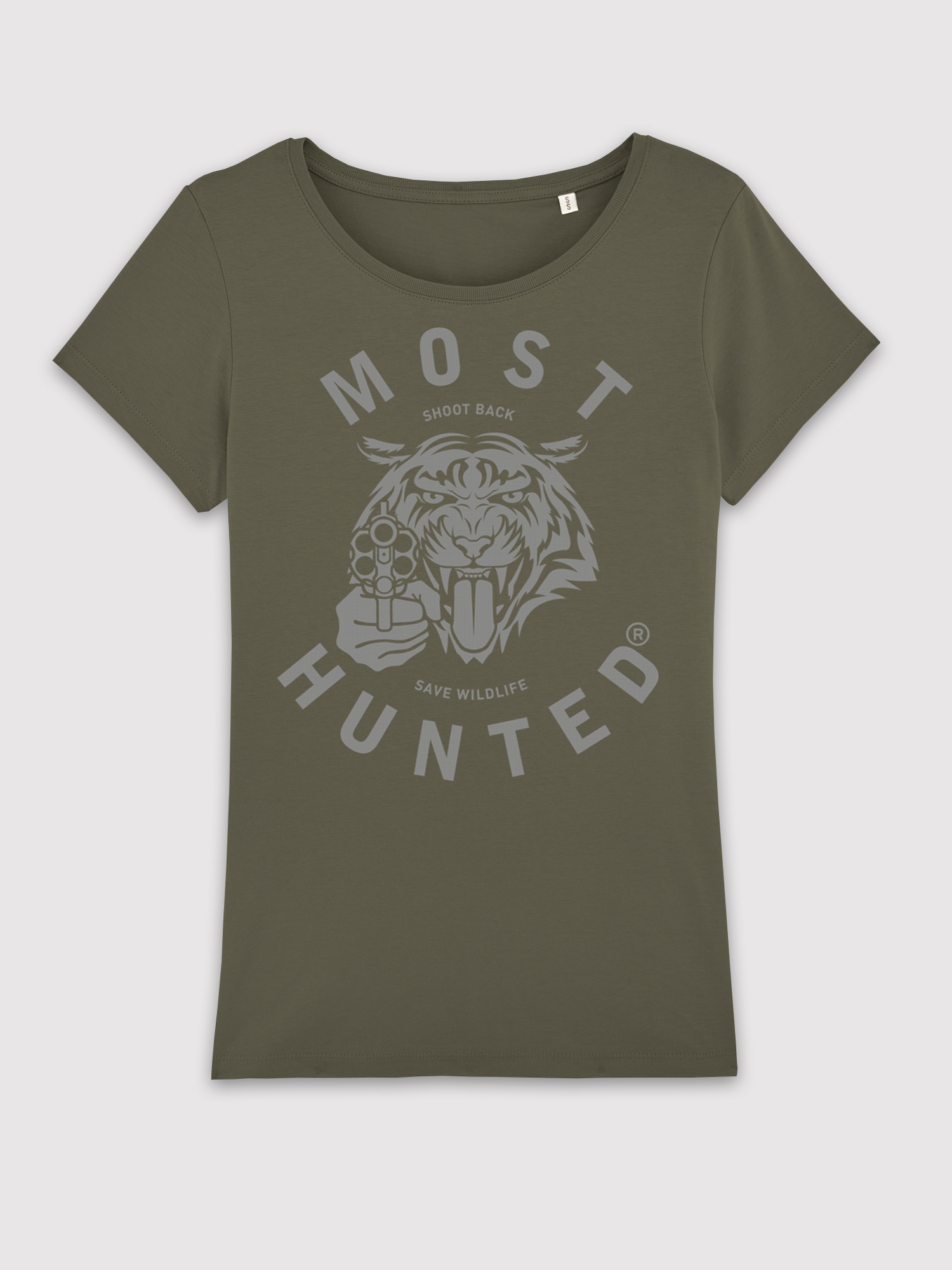 Army Green Tiger Silver T Shirt Women Most Hunted